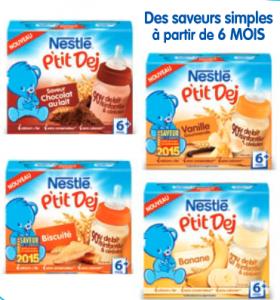 A partir de 6 mois, Nestlé P'tit Dej passe en portions de 250 ml:90% de lait infantile et des céréales de blé pour introduire le gluten en douceur. Des saveurs gourmandes pour chouchouter bébé et éveiller ses papilles dès le matin : vanille gourmande, biscuité, banane et l'incontournable saveur chocolat au lait
