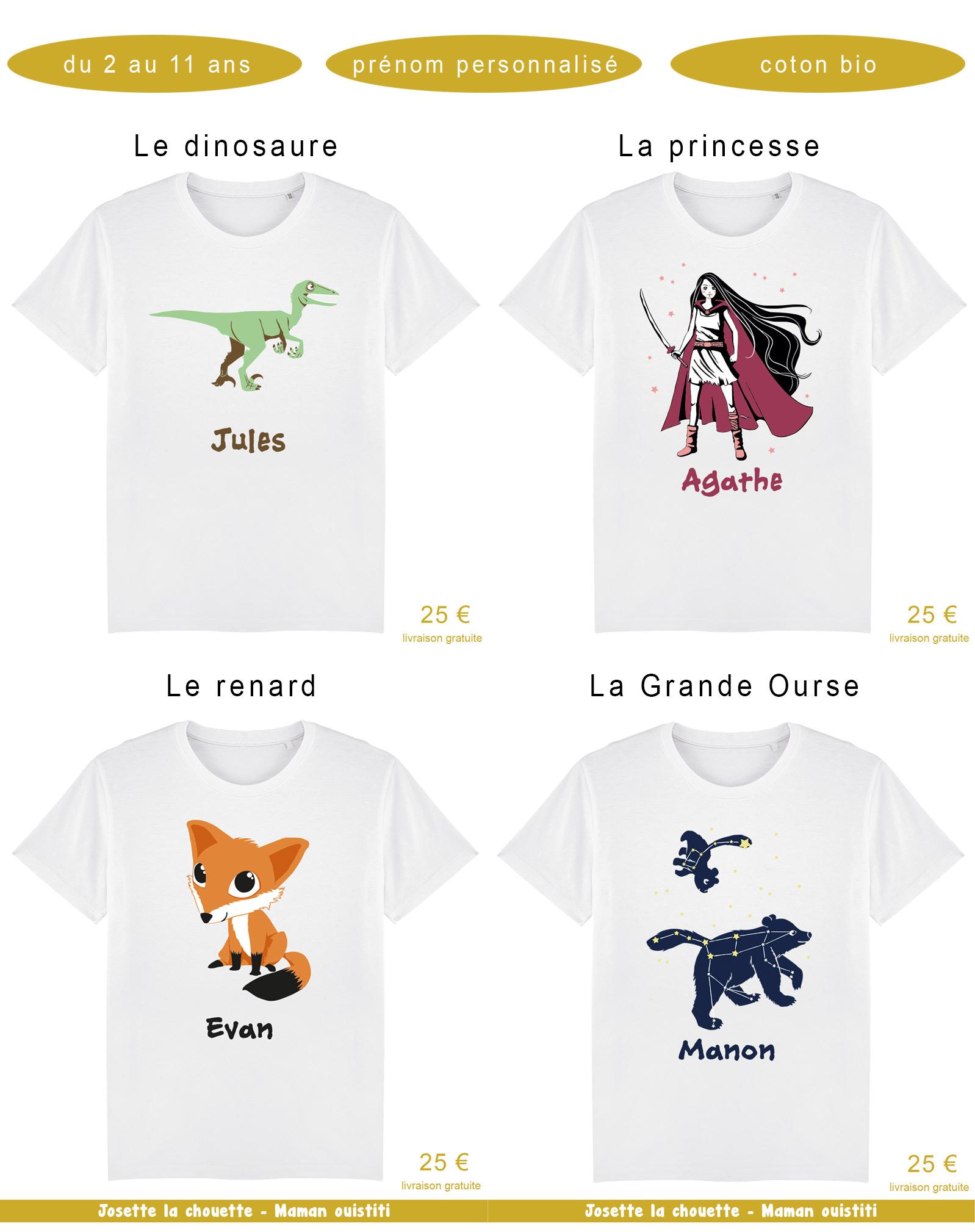 Tshirts - Josette la chouette - personnalisation